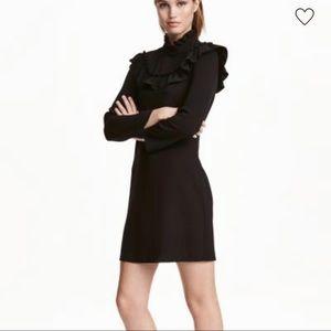 Black H&M Long sleeve frill knee length dress Size 8